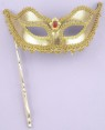 Venetian Mask - Gold mask with gold ribbon accents and ornate style handle.