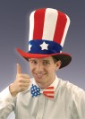 Uncle Sam Felt Hat - Red, white and blue felt top hat with star adorned hat band.