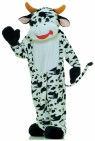 Moo Cow Adult Mascot Costume - Comical deluxe plush moo cow mascot costume. Cow head, with see thru eye mesh, jumpsuit with attached mittens and foot covers.