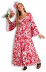 Flower Child Adult Costume - 60s flower print dress, sinch waste, low cut front and drop sleeves. Add your own flower headpiece to finish the look.