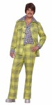 70s Plaid Leisure Suit Adult Costume - Speaking of bright leisure suits, take a look at this one! Matching plaid pants and jacket. Shirt front is attached to jacket as well cuffs. One size fits most.