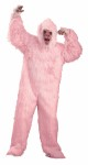 Gorilla Adult Mascot Costume - Pink gorilla mask, matching jumpsuit with attached hands and shoe covers.