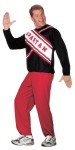 Spartan Guy Cheerleader Adult Costume (Plus Size) - Long sleeve top with Spartan logo and red pants. Plus size 48-53.