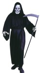 Grave Reaper Adult Costume - Includes skeleton mask, full-cut robe with oversized hood and extra long sleeves, fabric gloves with sculptured bone hands and belt. Fits up to 200 lbs. Scythe not included.