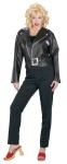 Grease Sandys Cool Adult Costume - Imprinted pleather jacket with authentic insignia, matching  belt, scoop neck top and shiny fitted leggings. Wig sold separately.