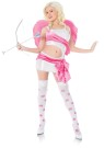 Playboy Cupid Adult Costume - Lycra dress with cut out waist, panne sash and side bow,  matching thigh highs, bow and arrow and feathered wings.