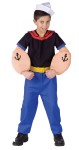 Popeye Toddler Costume - Blue pants with yellow belt, black shirt with red collar, muscle arms, and sailor cap.