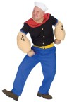 Popeye Adult Costume - Now you can be Popeye the sailor man! Blue pants with yellow belt, red collared black shirt, muscle arms, and traditional sailor cap. Standard size fits 42-46.