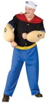 "Now you can be Popeye the sailor man! Popeye Costume inlcudes blue pants with yellow belt, red collared black shirt, muscle arms, and traditional sailor cap. Plus size fits up to 300 lbs, height 59""-63"", chest 48""-53"", waist 42""-46"", neck 19"", and inseam 32""-34""."