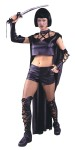 Vampire Slayer Adult Costume - Buffy never looked so good! Includes lace-up hot pants, midriff top with attached cape and choker, lace-up boot tops and lace-up gloves. Fits sizes 4-14. (Sword not included).