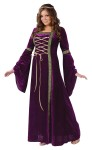 Renaissance Lady Adult Costume (Plus Size) - Elegant gown with golden lacing at the bodice and drop sleeves with gold trim.