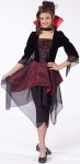 Dracula Lady Child Costume - Black dress has red inset with sheer black overlay on sleeves and skirt. Includes choker with collar.