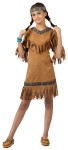 American Indian Girl Child Costume includes fringed suede look dress with ribbon trim and headband.