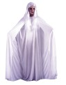 For a very dramatic look! Includes ghostly gown, hooded cape, white gloves and flowing wig.