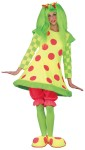 This is one unique clown costume! Lolli The Clown Adult Costume includes neon polka dot dress with wire hoop, trimmed in faux fur, bloomers and clown shoe covers. Wig not included. One size fits most.