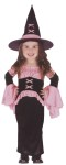 Pretty Witch Toddler Costume - Includes long dress with bell sleeves, waist cinch with peplum, and witch hat.