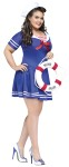 "Anchors Away Adult Costume (Plus Size) - Blue h<span id=""lblDescription"">alter dress with sailor collar, rope belt, and sailor hat.</span>"