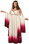 Venus Goddess Of Love Costume includes fading cream to burgundy full length gown with drape sleeves, low cut front and tradional headpiece. For regular adult sizes see style FW120904. Fits Size 16-20.