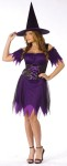 Dark Witch Adult Costume - Includes purple, low cut, scalloped dress with black sheer layers, lace-up bodice look front and matching hat. For Plus size see style FW120965.