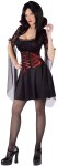 Twilight Vampiress Adult Costume - Includes dress with red metallic ribbon accents and matching attached vampire collar.