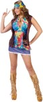 Hippie Summer Of Love Adult Costume - Tie-dye halter top, long fringe vest, mini skirt and headband.