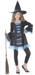 Victorian Witch Child Costume - Pretty black dress with blue accents comes with matching witch hat.