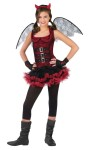 Night Wing Devil Teen Costume includes Trendy mini skirt and top with fun buckles includes wings.