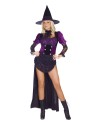 Witch Burlesque Adult Costume - Includes gothic flower lace top with front lace hip drape and sleeves, back satin train skirt and attached panty, velvet lace-up cinch, lace jabot, and witch hat.