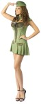 Major Trouble Army Adult Costume - Includes drop waist dress with lace-up bust, name tag, matching overseas cap, collar with tie. For Plus size see style FW122105.