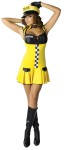 Sexy Cabbie Adult Costume - This is one sexy cabbie! Costume includes drop waist dress with checker board accent, lace up bust, name tag, cabbie hat, fingerless faux leather gloves and collar. For Plus size see style FW122125.