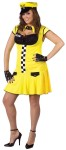 This is one sexy cabbie! Costume includes drop waist dress with checker board accent, lace up bust, name tag, cabbie hat, fingerless faux leather gloves and collar. For regular adult sizes see style FW122124.