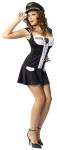Captain Layover Adult Costume - This is one mile high cutey. Captain Layover Costume includes drop waist mini dress with lace up bust, name tag and pilot hat. For Plus size see style FW122135.