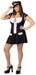 This is one mile high cutey. Captain Layover Adult Costume (Plus Size) - Includes drop waist mini dress with lace up bust, name tag and pilot hat. For regular adult sizes see style FW122134.