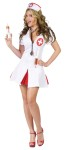 Nurse Say Ahhh Adult Costume - Nurses minidress has loops to hold 2 shot syringes and includes cap and stethoscope.