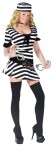 Mug Shot Fantasy Adult Costume - Prison stripe minidress with hat and handcuffs with 3 shot glasses!