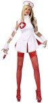 Nurse Wicked Adult Costume - Includes zipper front mini dress with red kick pleats, cut out sleeves and nurse cap.