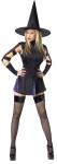 Witch Wicked Adult Costume - Includes zipper front mini dress with purple kick pleats, cut out sleeves and witch hat.