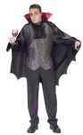 Dapper Dracula Adult Costume - Classic Victorian look vampire with red collared black cape and elegant vest. Pants not included. One size.