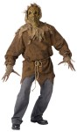 Scarecrow Adult Costume - Rough hewn shirt, rope belt, gloves with extended fingers, and mask with attached hood.