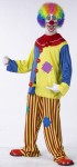 "Horny The Clown Adult Costume - Pull over top with 3 hard pom poms, front slit collar, pants with elastic waist and ankles. Elastic waistbands with air activated accordian mechanism - tip of mechanism has a pom to match clown top poms. Mechanism has ""boing"" sound effect when extended. Hand held air pump with tube that runs through sleeve of clown top to activate mechanism."