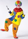The ultimate clown suit! Colorful pullover top with pom-poms, baggy strip pants and collar. One size fits most.