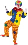 Big Top Clown Adult Costume (Plus Size) - The ultimate clown suit! Colorful pullover top with pom-poms, baggy stripe pants and collar. Fits up to 62& 300 lbs.