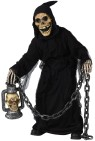 Grave Ghoul Child Costume - Creepy ghoul has robe, mask with hood, a tattered overcoat, and gloves.