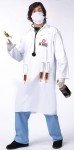 This Doc has your best interest at heart, I think. Lab coat, with 4 syringe loops, screened logo, 4 syringes, scrub mask and stethoscope. One size fits most. For Plus size see FW130625.