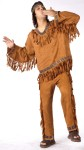 American Indian Man Costume includes fringed suede look top and pants with ribbon trim and headband. One size fits most. For Adult Plus Size see style FW131025. Toddler size FW131021. Child Size FW131022.