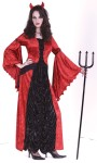 Devil Princess Adult Costume - This elegant costume includes: velvet dress with coffin lining material inset, lace tie front, bustle, devil horn headpiece and armbands.