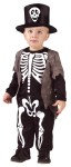 Happy Skeleton Toddler Costume - Cute jumpsuit is imprinted with skeleton bones, and includes hat with a skull on the front.