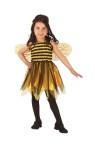 Stretch, striped bodice dress with black chiffon skirt overlay and attached bee wings.