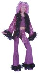Disco Diva Teen Costume - Includes: Pants with feather trim, tank top, jacket with feather trim and sash. One size fits Juniors 0-9.