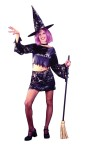 Little Witch Teen Costume - Includes: Iridescent foil stamp spider web pattern mini skirt, midriff top, choker and witch hat. Junior sizes 0-9